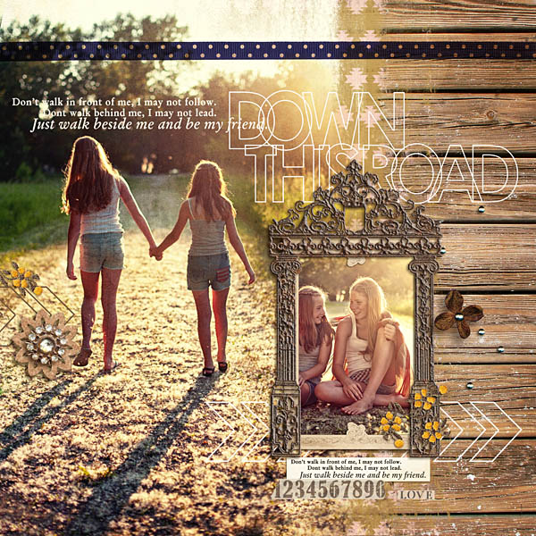 Walk Beside Me layout by kristasahlin using Country Road Kit, Country Road Journal Cards, Country Road Word Art by Sahlin Studio