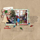 Christmas layout by Lor using Wood Veneer: Christmas, Daily Date Brads No.2, Vintage Christmas Alpha Cards by Sahlin Studio