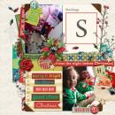 Christmas layout by PuSticks using Wood Veneer: Christmas, Daily Date Brads No.1, Daily Date Brads No.2, Vintage Christmas Alpha Cards by Sahlin Studio
