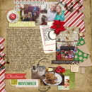 Christmas scrapbook layout by becca1976 using Wood Veneer: Christmas, Daily Date Brads, Project Life - Vintage Christmas Alpha Cards by Sahlin Studio