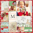 Christmas scrapbook layout by britt using Wood Veneer: Christmas, Daily Date Brads, Project Life - Vintage Christmas Alpha Cards by Sahlin Studio