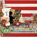 Christmas layout by scrappydonna using Wood Veneer: Christmas, Daily Date Brads No.2, Vintage Christmas Alpha Cards by Sahlin Studio