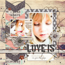 Love Is digital layout by louso using Stamped Sentiments Digital Word Art No. 2: Love by Sahlin Studio
