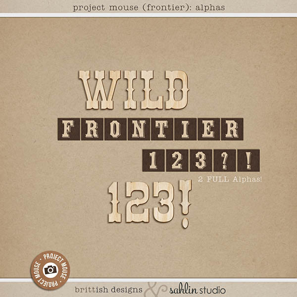 Project Mouse (Frontier): Alphas by Britt-ish Designs and Sahlin Studio - Perfect for scrapbooking / project life your magical memories from Frontierland at Disney