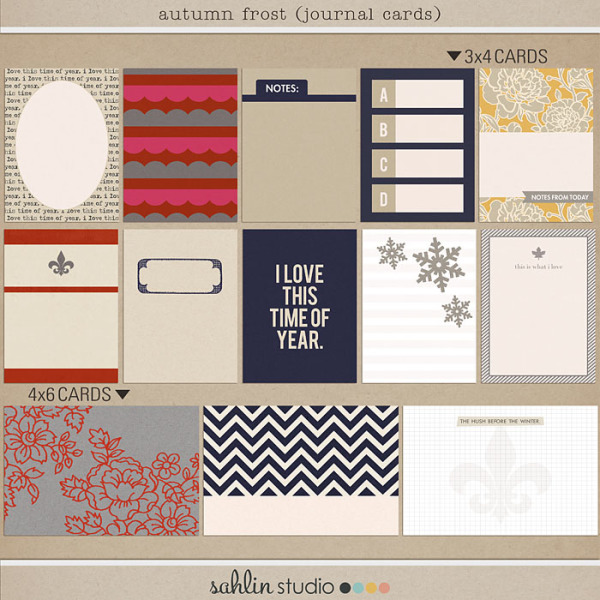autumn frost journal cards by sahlin studio