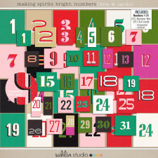 making spirits bright: numbers (bits & cards) by sahlin studio Perfect for using in your December Daily or Project Life albums!