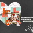 Valentine digital scrapbooking page by FarrahJobling using MPM Hello and Add Ons by Sahlin Studio