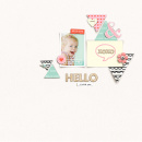 Hello digital scrapbooking page by sucal using MPM Hello and Add Ons by Sahlin Studio