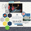 Blast Off digital scarpbooking page by PuSticks featuring Photo Journal No. 1 (Word Arts & Templates) by Sahlin Studio