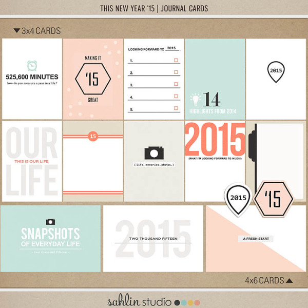 This New Year '15 Journal Cards by Sahlin Studio