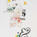 Hello & Happy paper scrapbooking page by 3littleks featuring Shine Bright Kit and Journal Cards by Sahlin Studio