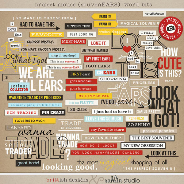 Project Mouse (SouvenEARS): Word Bits by Britt-ish Designs and Sahlin Studio - Perfect for your Project Life or Project Mouse album!!