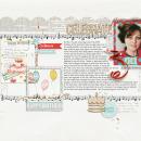 Celebrate digital scrapbooking page by HeatherPrins using Birthday Cake by Sahlin Studio