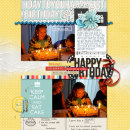 Happy Birthday digital scrapbooking page by amberr using Birthday Cake by Sahlin Studio