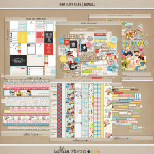 birthday cake (bundle) by sahlin studio Perfect for digital scrapbooking or Project Life albums!