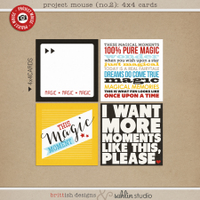 Project Mouse (No.2): 4x4 Cards by Britt-ish Designs and Sahlin Studio - Perfect for your Project Life or Project Mouse Disney albums!!