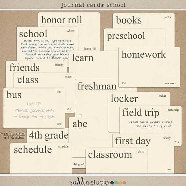 Journal Cards (School) by Sahlin Studio