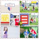 July digital pocket scrapbooking double page by aballen using Celebrate Kit by sahlin studio