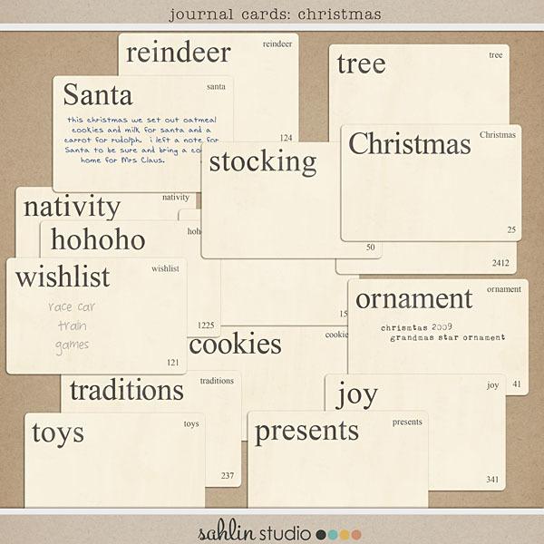Journal Cards: Christmas by Sahlin Studio