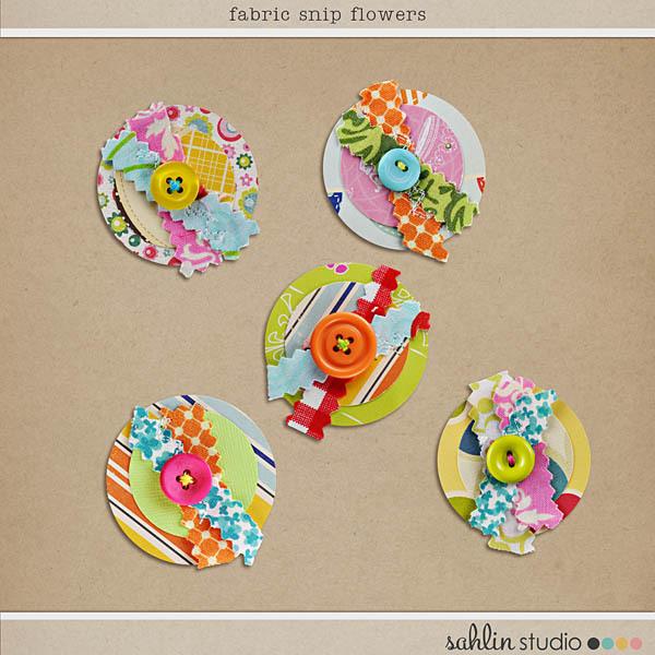 Fabric Snip Flowers by Sahlin Studio
