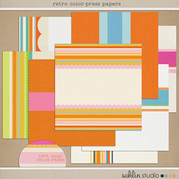 Retro Color Press Papers by Sahlin Studio