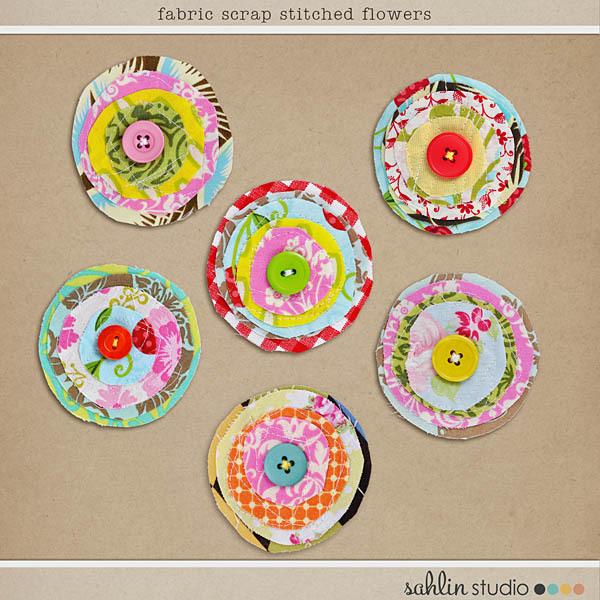 Fabric Scrap Stitched Flowers