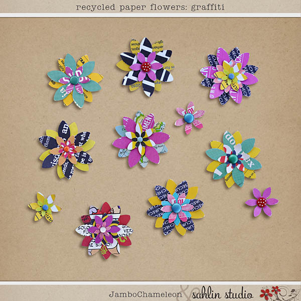 Recycled Paper Flowers: Graffiti by Jambo Chameleon and Sahlin Studio