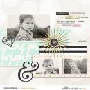 "Digital Scrapbook Inspiration using August FREE Digital Scrapbook Template & ""Shine Bright"" (Kit, Journal Cards) by Sahlin Studio"