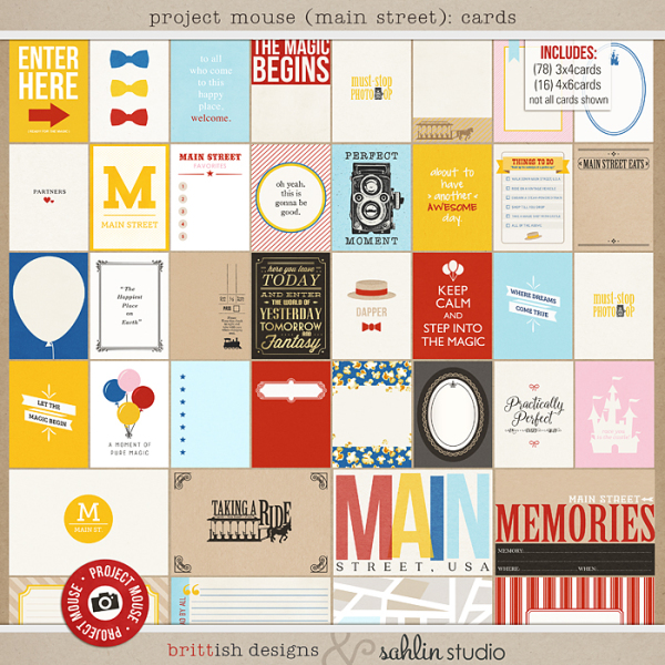 Project Mouse (Main Street): Journal Cards by Britt-ish Designs and Sahlin Studio - Perfect for Project Life or Project Mouse albums