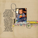 digital scrapbooking layout featuring Birthday Word Art by Sahlin Studio