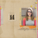 digital scrapbooking layout featuring Birthday Word Art by Sahlin Studio