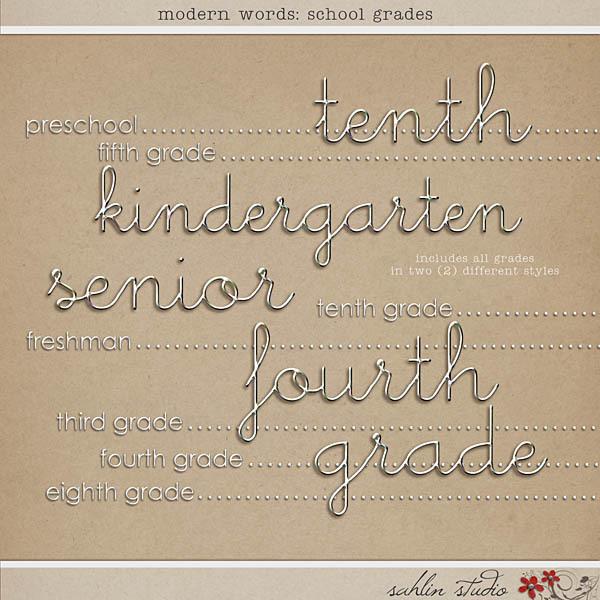 Modern Words: School Grades by Sahlin Studio