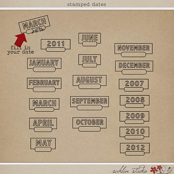 Stamped Dates by Sahlin Studio