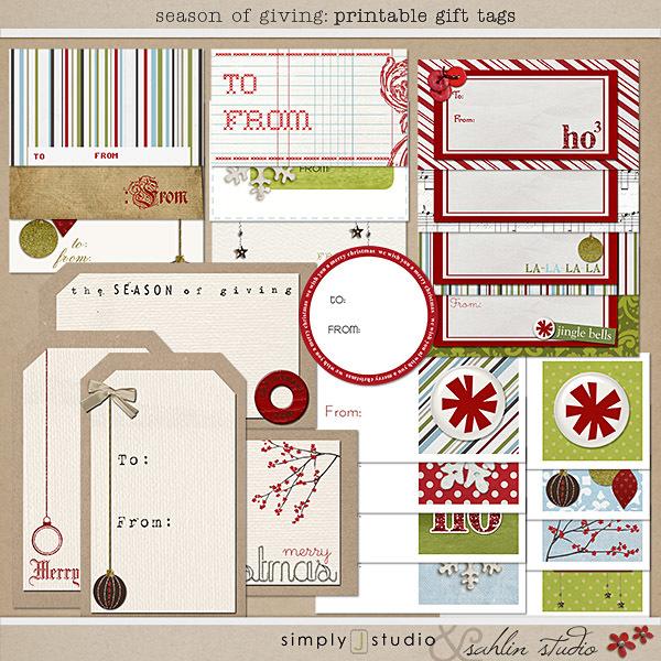 Season of Giving: Printable Gift Tags by Sahlin Studio and Simply J Studio