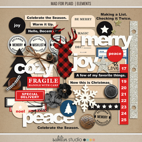 Mad for Plaid (Elements) by Sahlin Studio   Perfect for Project Life, December Daily or Document your December projects!!