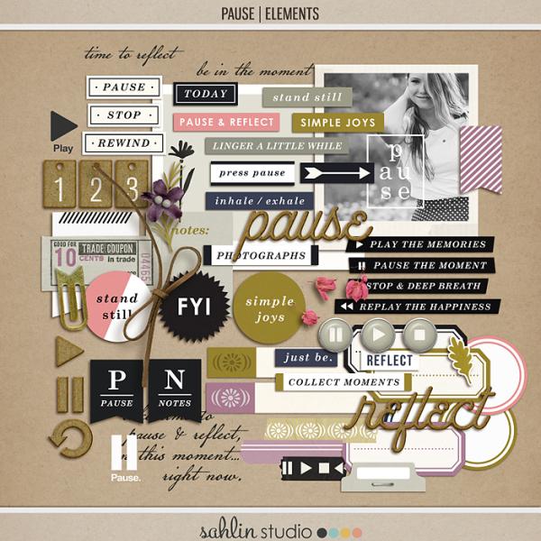 Pause | Elements by Sahlin Studio - Gratitude Scrapbook Kit