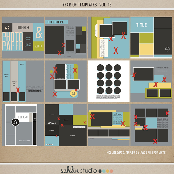 Year of Templates Vol. 15 by Sahlin Studio - Digital scrapbook templates perfect for making pages in a snap!