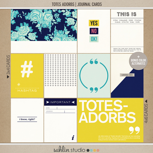 Totes Adorbs   Journal Cards by Sahlin Studio - Perfect for Project Life albums!!