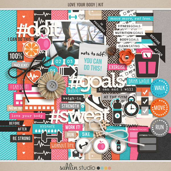 Love Your Body   Kit by Sahlin Studio - Perfect for planners, scrapbooking, project life albums for any of your exercise or fitness documenting!!