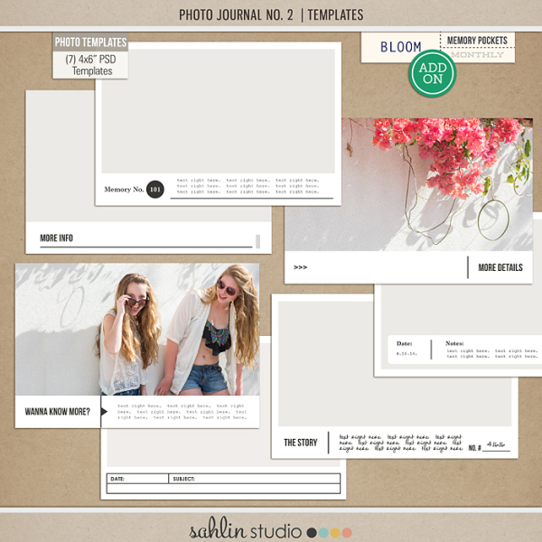 """Photo Journal No.2 (4x6"""" Templates) by Sahlin Studio - Perfect for your Project Life photos!!"""