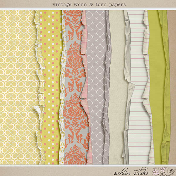 Vintage Worn and Torn Papers by Sahlin Studio