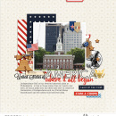 Land of the Free America Philadelphia Digital Scrapbook Layout page using Project Mouse (World): America by Britt-ish Design and Sahlin Studio