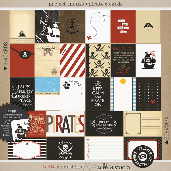 Project Mouse (Pirates) Journal Cards | by Britt-ish Designs and Sahlin Studio - Perfect for your Project Life / Project Mouse albums!!