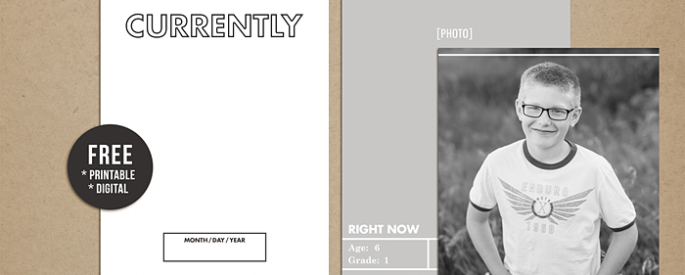 Currently | Template and Journal Card FREEBIE - Perfect for capturing your families interests in your Project Life or scrapbook album, right now!!