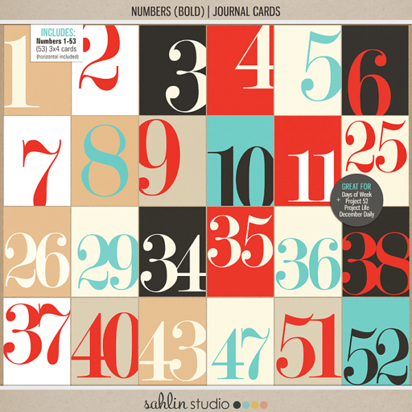 Numbers (Bold) | Journal Cards - Digital Printable Scrapbooking Journal Card Pack by Sahlin Studio - Perfect for your Project Life, Project 52 or December Daily albums!!