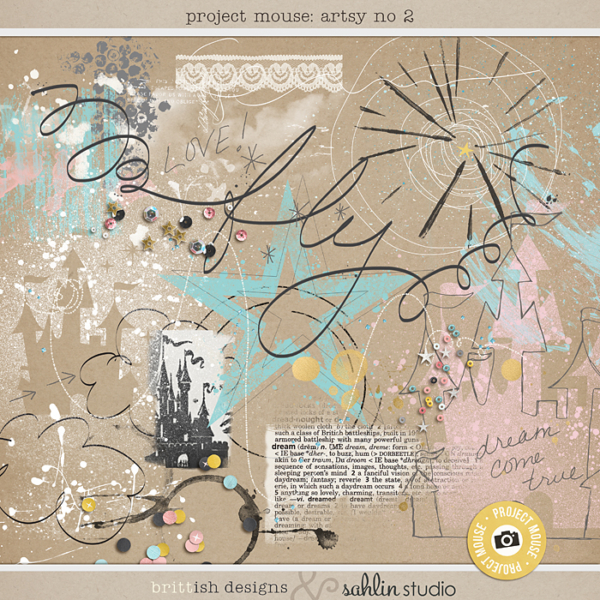 Project Mouse: Artsy 2 | by Britt-ish Designs and Sahlin Studio - Perfect for adding art journaling techniques to your Disney / Disneyland digital scrapbook layouts! Add paint & doodles, scatters of sequins & confetti.