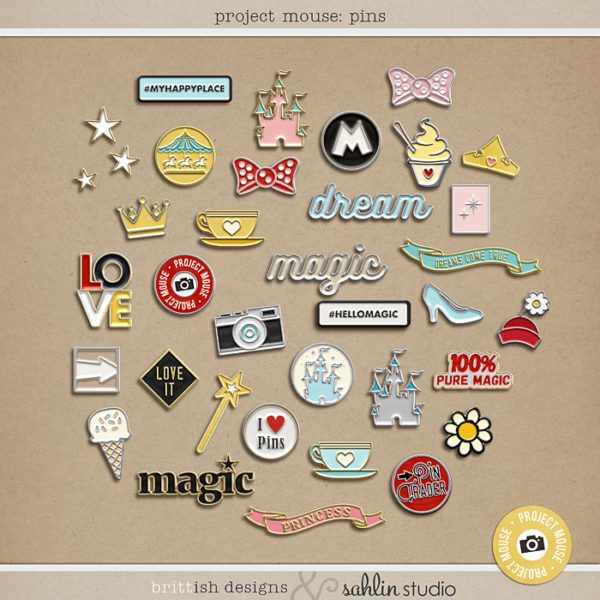 Project Mouse: Enamel Pins   by Britt-ish Designs and Sahlin Studio - Perfect for your Disney / Disneyland Project Life or digital scrapbook layouts!