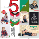 Merry & Bright digital scrapbooking page using Clean Lined Pocket Templates No. 2 by Sahlin Studio