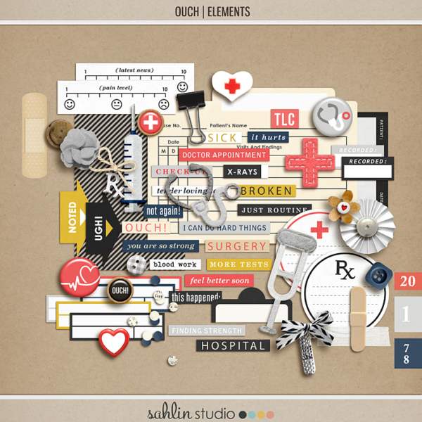 Ouch (Elements) by Sahlin Studio - Perfect for your Project Life or traditional or digital scrapbooking layouts for Doctors Visits, Surgery, Sick Days, Cancer and many more OUCH moments!!