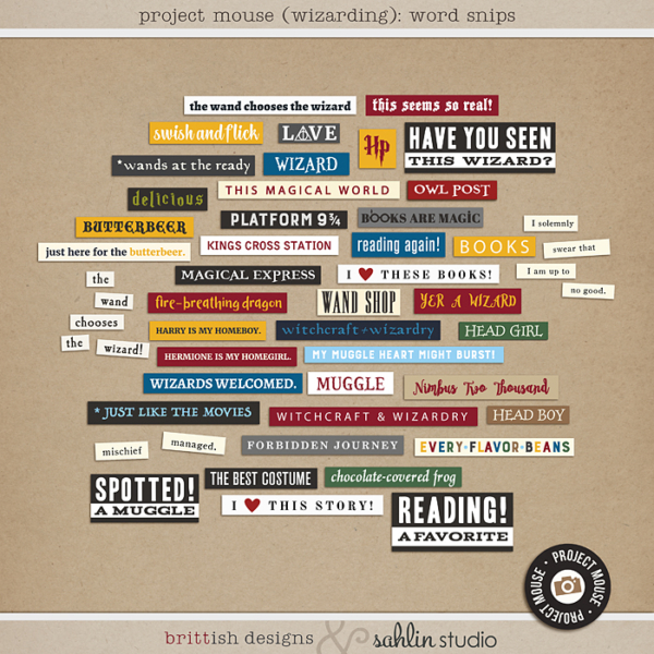 Project Mouse (Wizarding): Word Snips by Britt-ish Designs and Sahlin Studio - Perfect for your Universal Studios or Harry Potter Wizarding World vacation digital scrapbooking layouts or Project Life albums!!